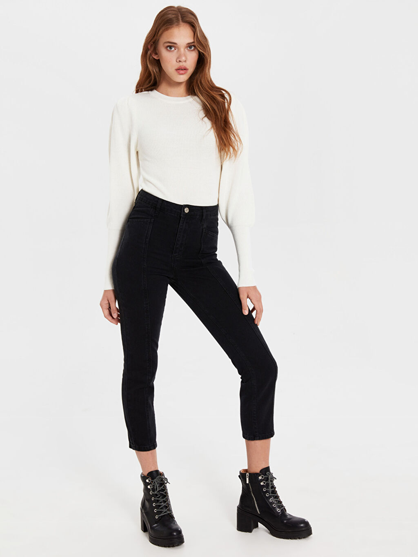 %100 Pamuk Dar Esnek olmayan Jean Yüksek Bel Yüksek Bel Jean Pantolon