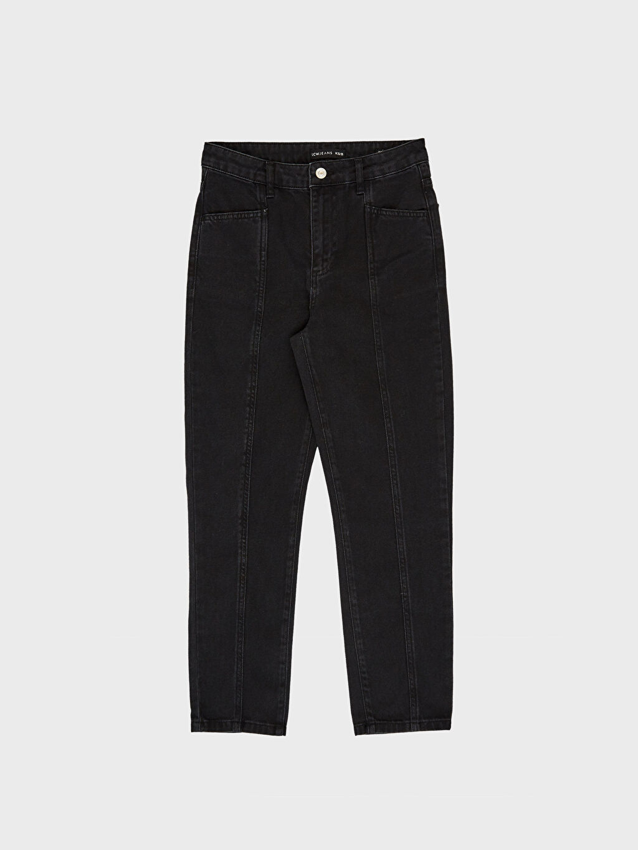 %100 Pamuk Yüksek Bel Jean Pantolon