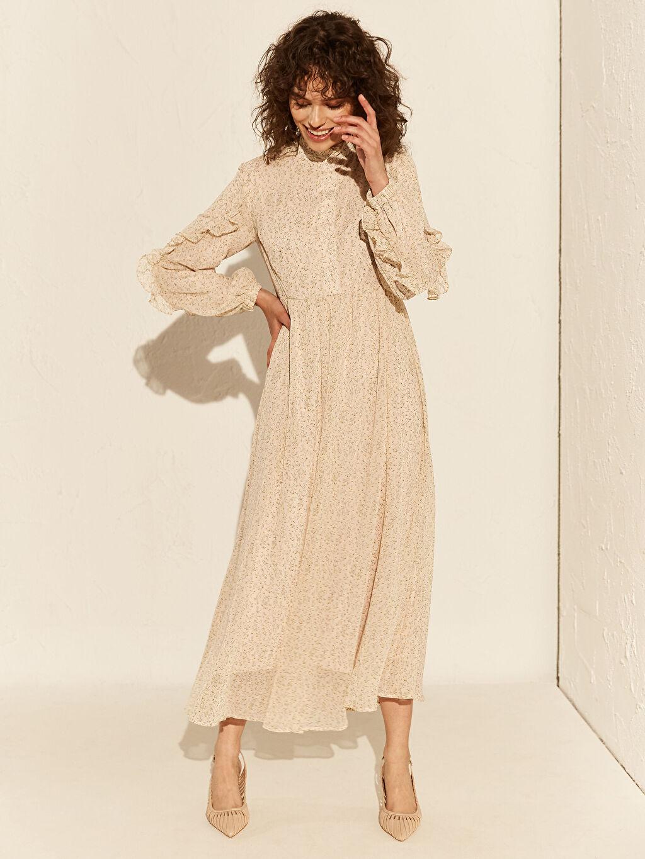 %100 Polyester %90 Polyester %10 Elastan Uzun Desenli Uzun Kol Fırfır Detaylı Desenli Şifon Elbise
