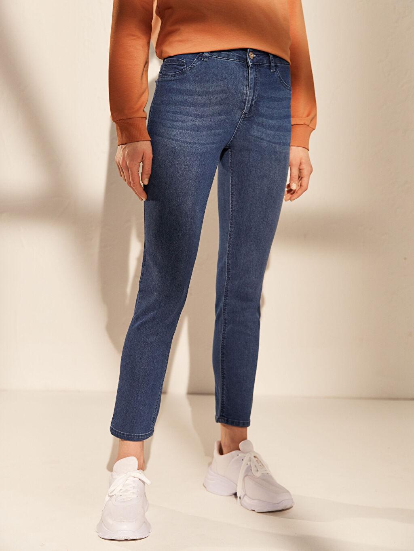 Kadın Yüksek Bel Dar Jean