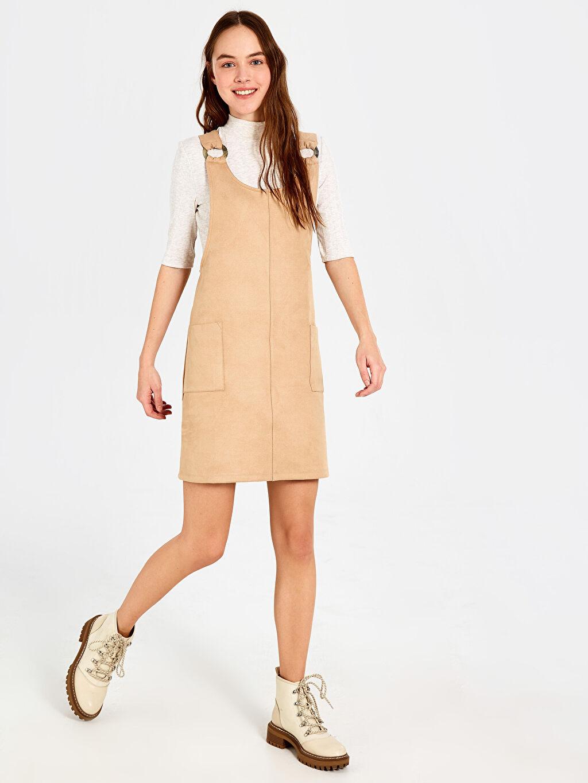 Kahverengi Süet Salopet Mini Elbise 0SL889Z8 LC Waikiki