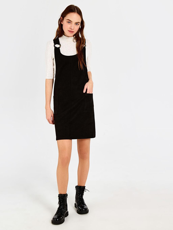 Siyah Süet Salopet Mini Elbise 0SL889Z8 LC Waikiki