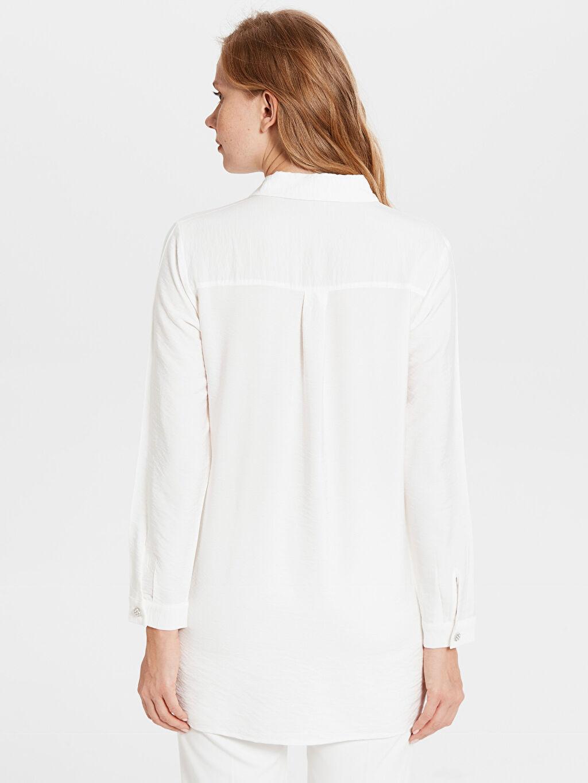 Kadın İnci Düğme Detaylı Viskon Gömlek