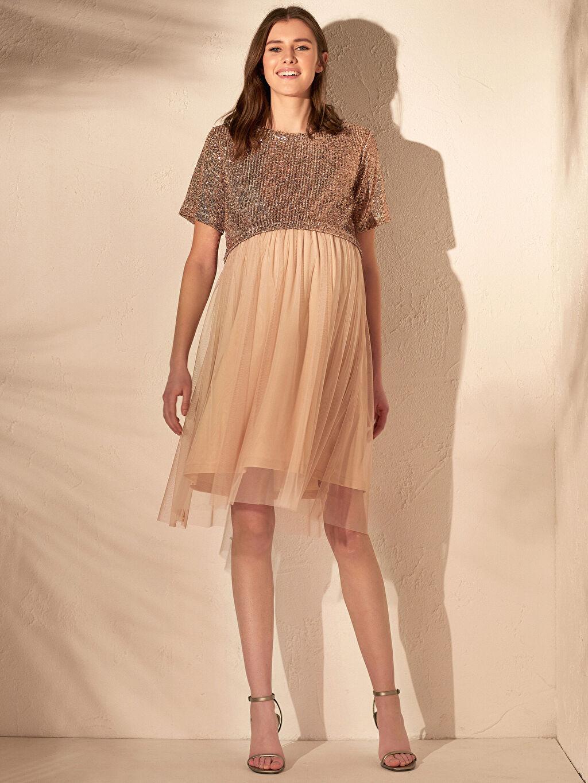 %94 Polyester %6 Elastan %100 Polyester Elbise Hamile Pul İşlemeli Elbise