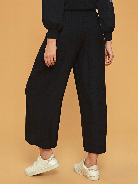 %12 Poliamid %88 Vıscose Normal Bel Bol Lastikli Bel Geniş Paça Pantolon