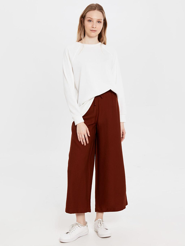 %12 Poliamid %88 Vıscose Normal Bel Geniş Paça Bol Lastikli Bel Pantolon Normal Bel Bol Lastikli Bel Geniş Paça Pantolon