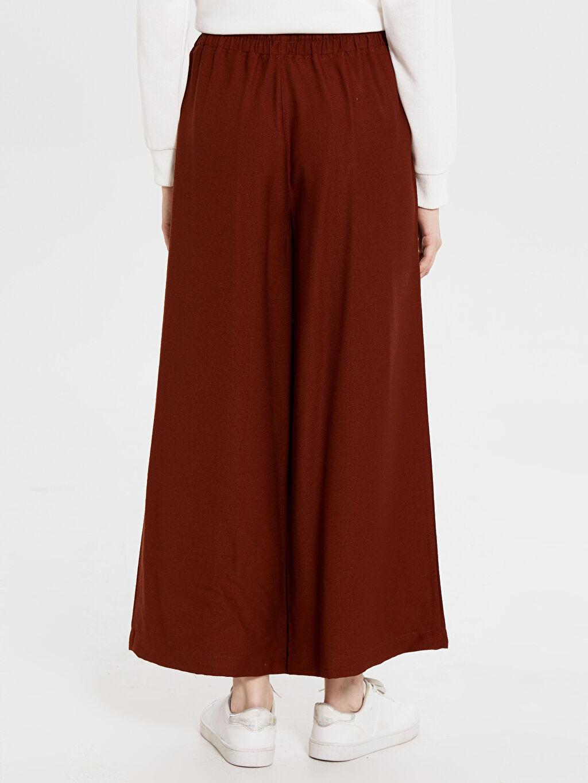 Kadın Normal Bel Bol Lastikli Bel Geniş Paça Pantolon