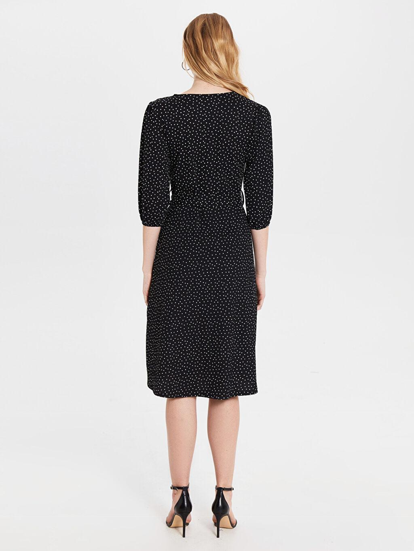 Kadın Yırtmaç Detaylı Desenli Elbise