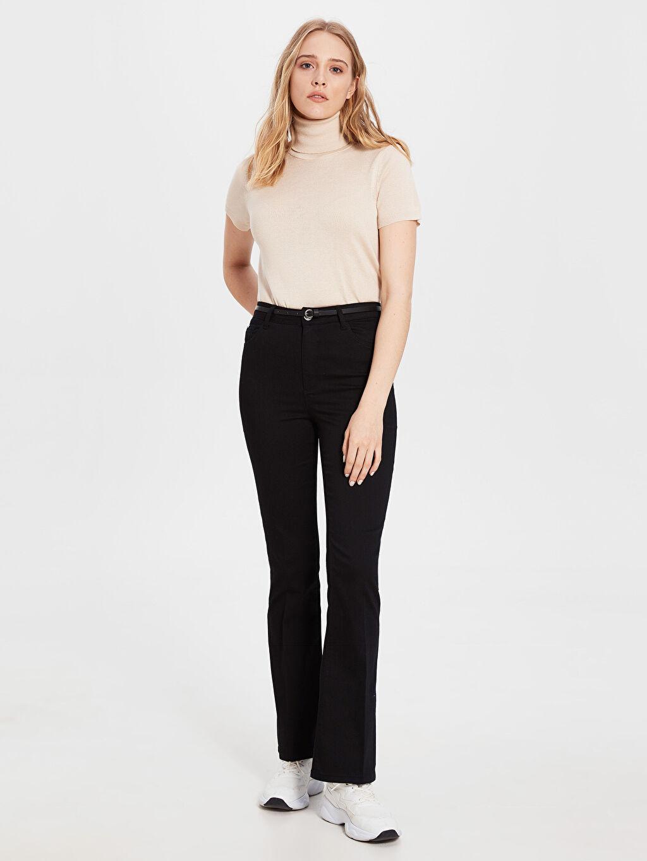 %70 Pamuk %26 Polyester %4 Elastan Normal Bel Standart Esnek İspanyol Paça Kemerli Pantolon Kemerli Gabardin Pantolon