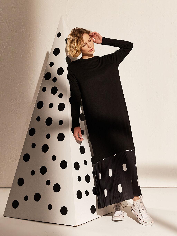 %25 Polyester %73 Viskoz %2 Elastan Uzun Desenli Uzun Kol Fır Fır Detaylı Viskon Elbise