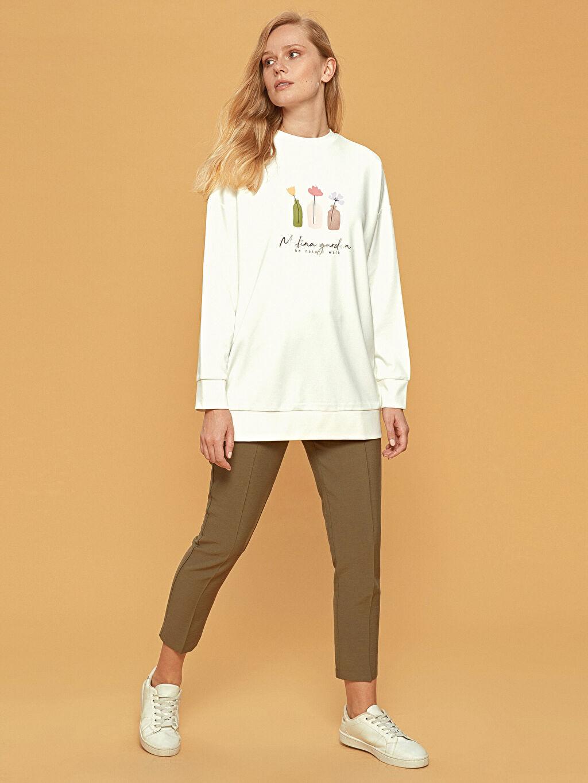 %25 Polyester %71 Viskoz %4 Elastan Baskılı Oversize Sweatshirt