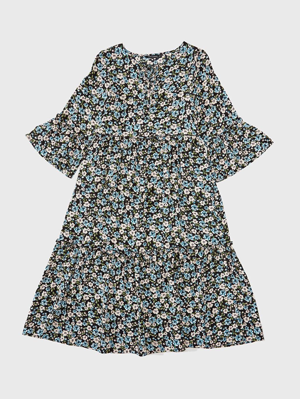 Mavi Desenli Fırfır Detaylı Viskon Elbise