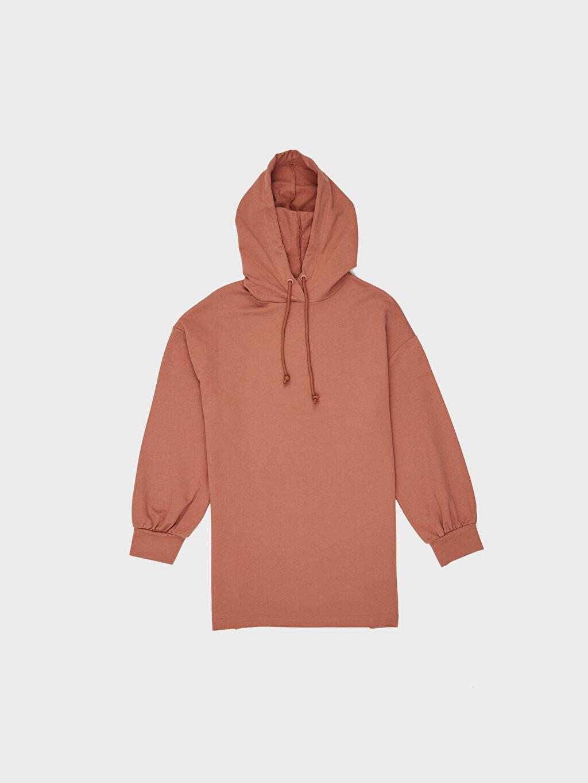 Pembe Kapüşonlu Oversize Sweatshirt