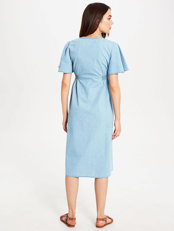 Kadın Hamile Düğme Detaylı Jean Elbise