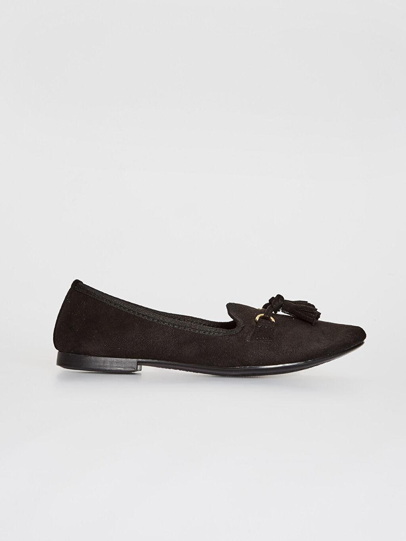Siyah Kadın Püskül Detaylı Babet Ayakkabı 0SN909Z8 LC Waikiki