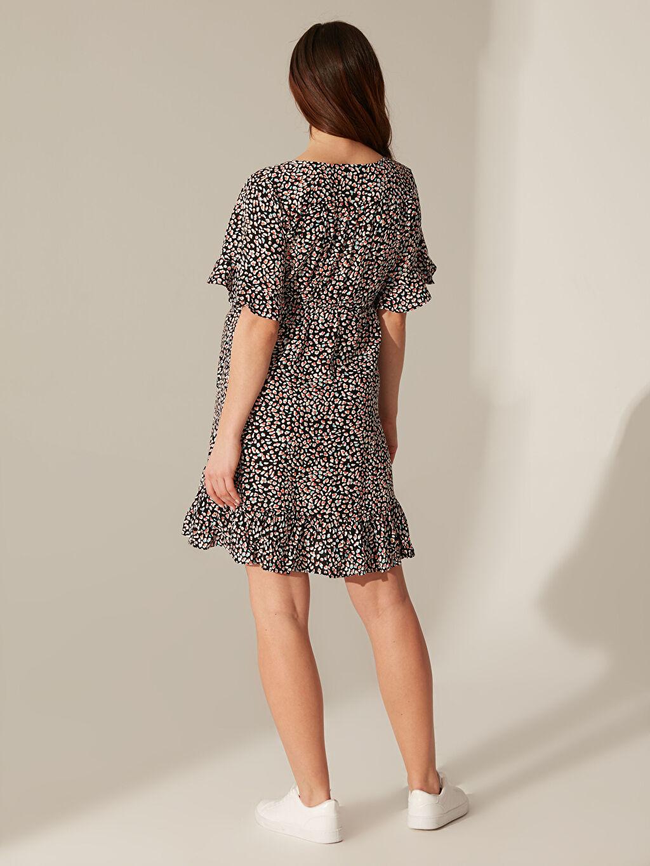 Kadın Fırfır Detaylı Desenli Viskon Hamile Elbise
