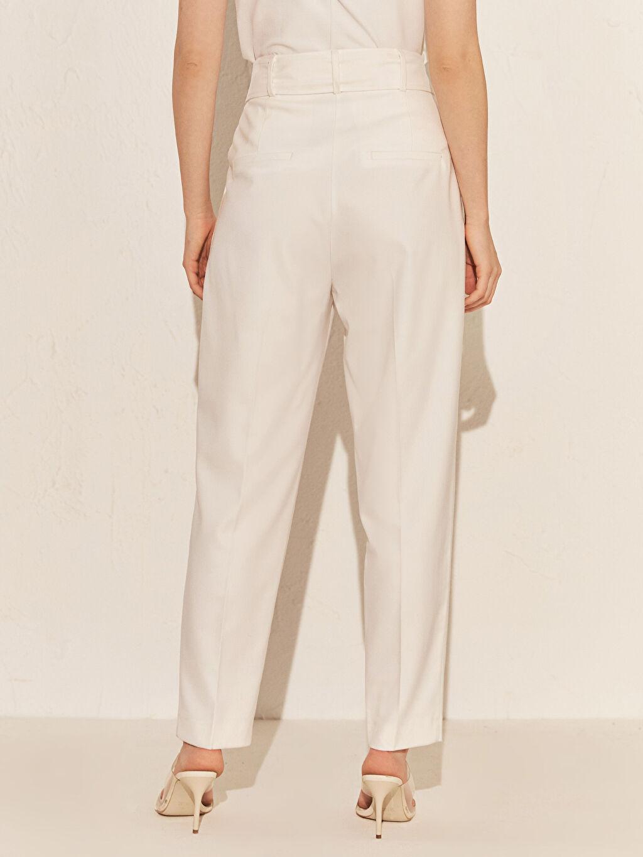 %64 Polyester %33 Viskon %3 Elastan Yüksek Bel Esnek Havuç Kemerli Pantolon Bilek Boy Kemerli Havuç Pantolon