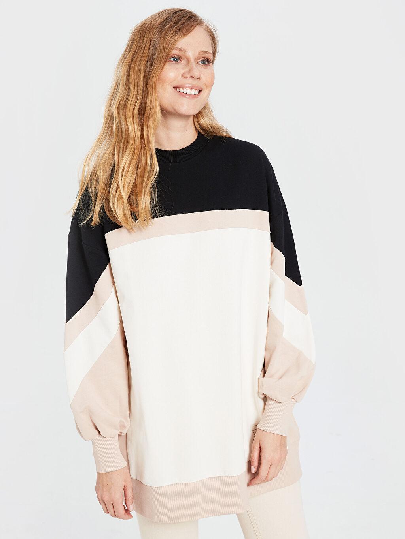 %100 Pamuk  Renk Bloklu Oversize Sweatshirt