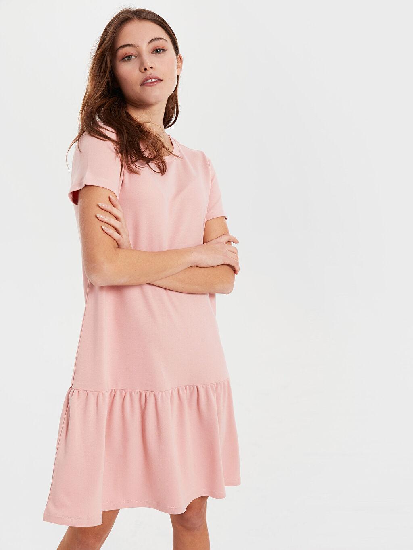 Kadın Fırfır Detaylı Esnek Elbise