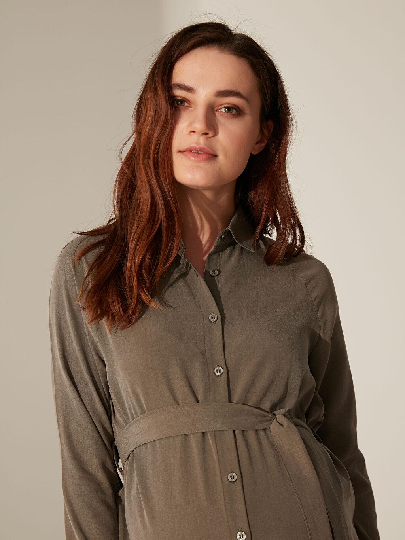 %32 Poliester %68 Lyocell Elbise Kuşak Detaylı Düğmeli Elbise