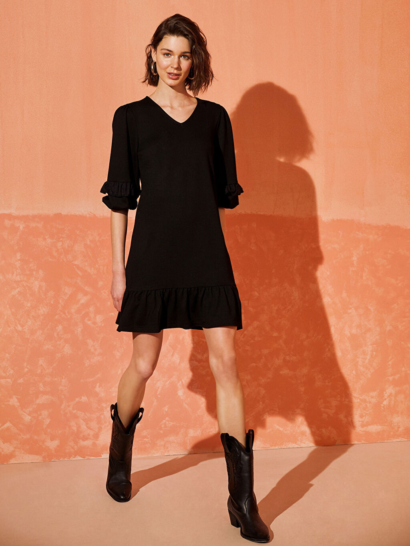 Kadın Fırfır Detaylı Viskon Elbise