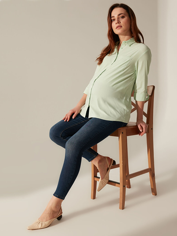 %65 Pamuk %30 Polyester %5 Elastan Gömlek, Bluz ve Tunik Cepli Vual Gömlek
