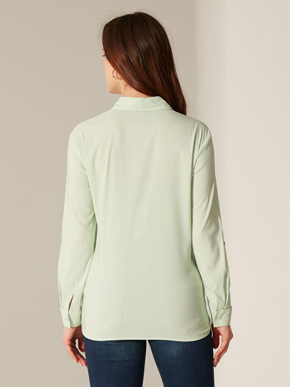 %65 Pamuk %30 Polyester %5 Elastan Cepli Vual Gömlek
