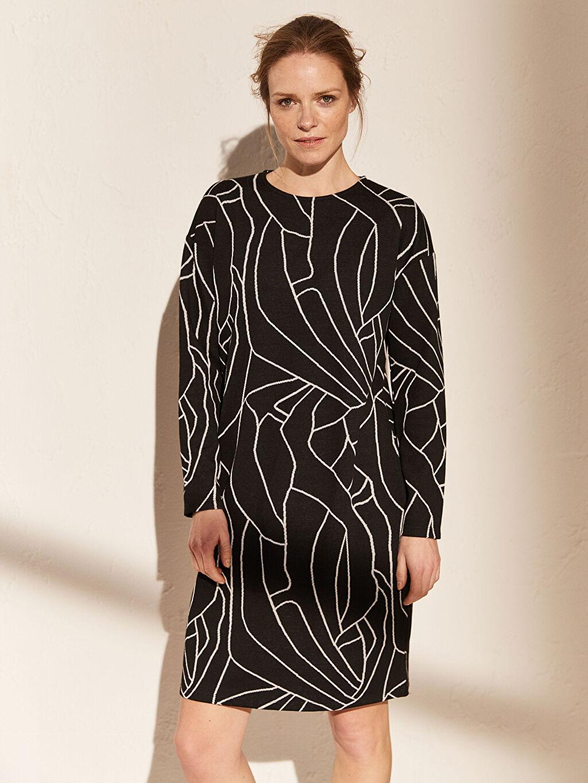 Siyah Diz Üstü Desenli Uzun Kollu Elbise 0SA458Z8 LC Waikiki