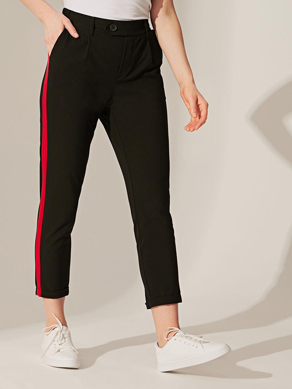 %63 Polyester %5 Elastan %32 Viskon Standart Yüksek Bel Esnek Kısa Paça Pantolon Bilek Boy Havuç Pantolon