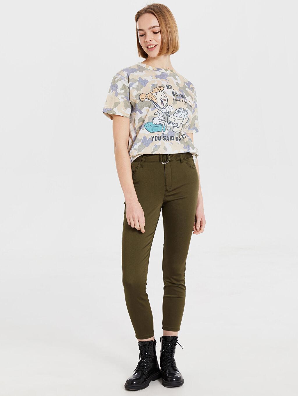 %65 Pamuk %31 Polyester %4 Elastan Kemerli Pantolon Normal Bel Dar Bilek Boy Kemerli Dar Pantolon