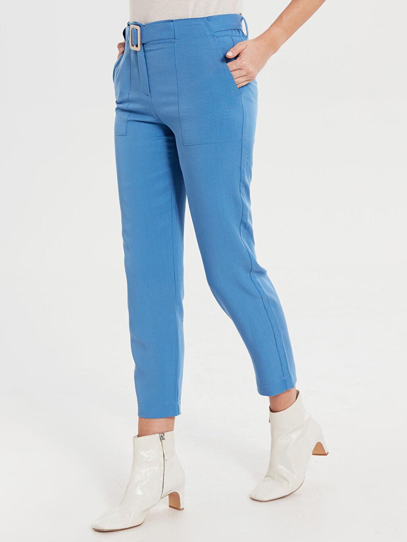 %100 Tencel Standart Yüksek Bel Kemerli Pantolon Bilek Boy Düz Paça Kemerli Pantolon
