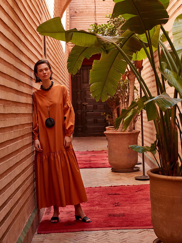%100 Pamuk Kuşaklı Uzun Poplin Elbise