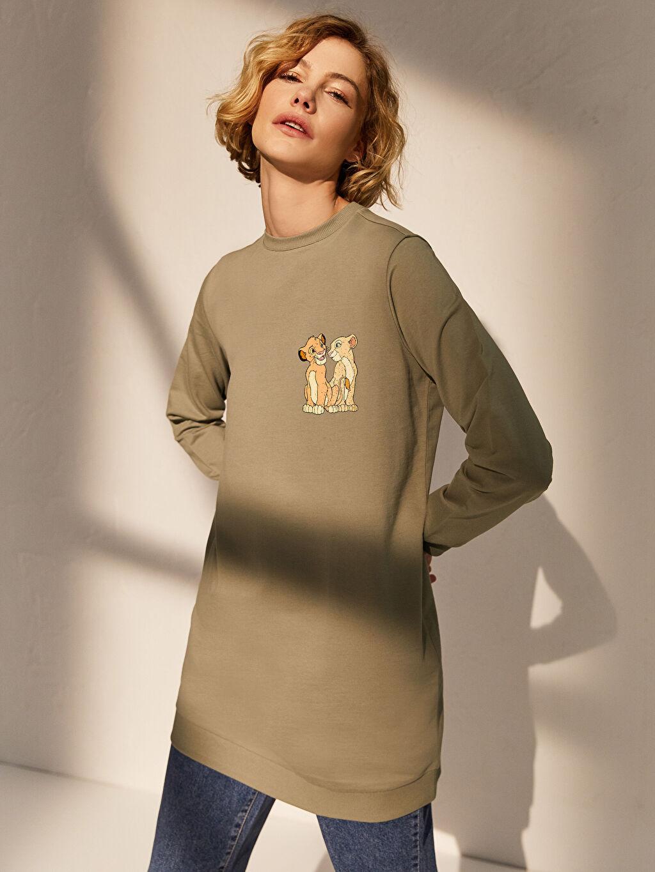 Haki Baskılı Pamuklu Oversize Sweatshirt 0SB527Z8 LC Waikiki