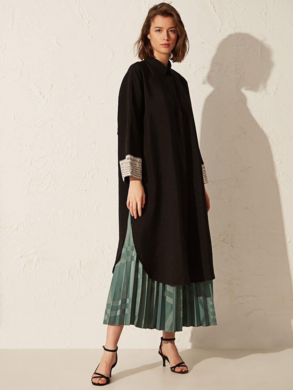 %100 Polyester Uzun Desenli Kendinden Desenli Uzun Pileli Etek