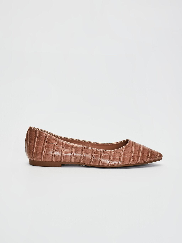 Pembe Kadın Kroko Desenli Babet Ayakkabı 0SB886Z8 LC Waikiki