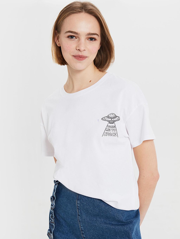 Beyaz Baskılı Pamuklu Tişört 0SC220Z8 LC Waikiki