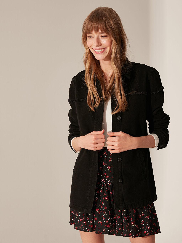 %100 Pamuk Orta Orta Ceket Oversize Jean Ceket
