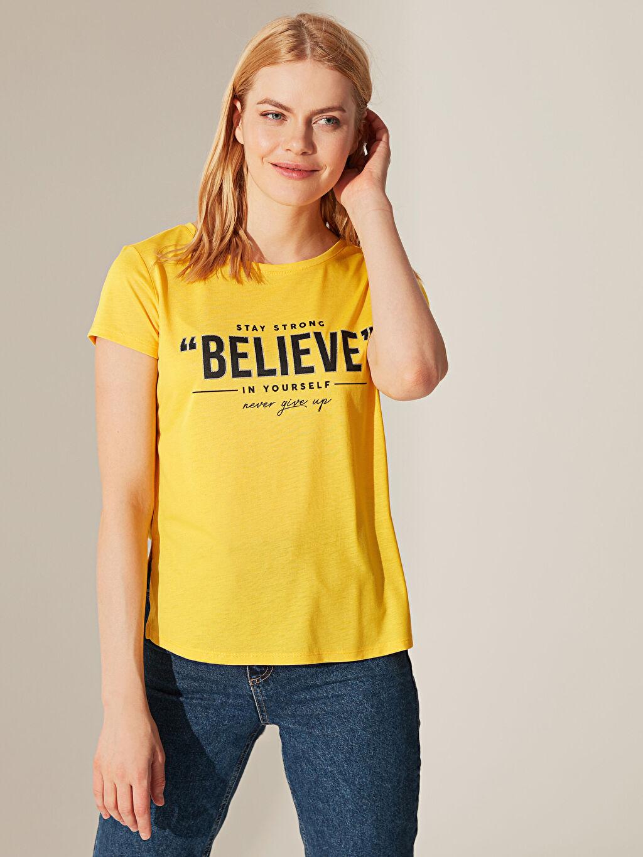 Sarı Yazı Baskılı Tişört 0SC904Z8 LC Waikiki
