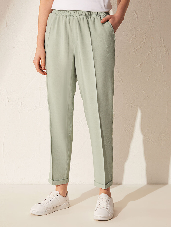 Kadın Beli Lastikli Viskon Harem Pantolon