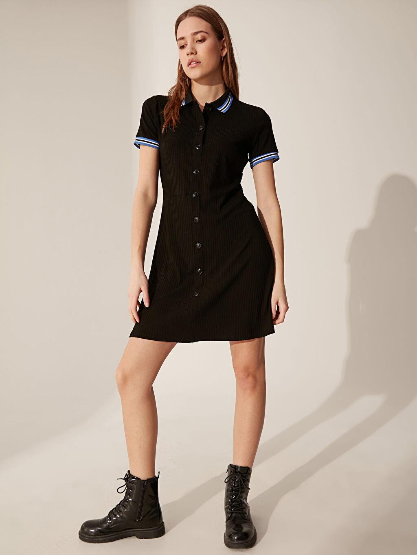 Siyah Düğme Detaylı Slim Elbise 0SD324Z8 LC Waikiki