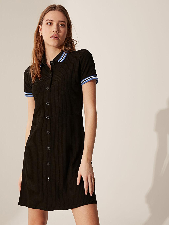 Kadın Düğme Detaylı Slim Elbise