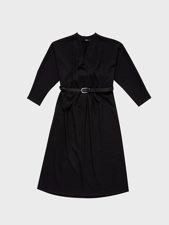 Kruvaze Yaka Kemerli Kloş Elbise