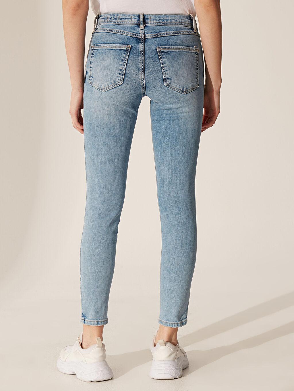 Kadın Yıpratma Detaylı Skinny Jean Pantolon