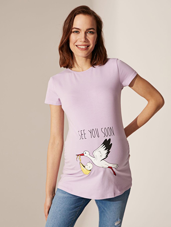 %96 Pamuk %4 Elastan Tişört, Body ve Atlet Hamile Baskılı Pamuklu Tişört