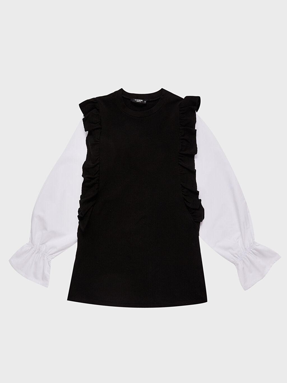 %98 Polyester %2 Elastan Fırfır Detaylı Hamile Bluz