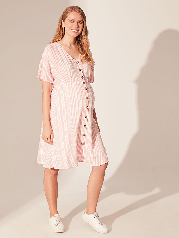 %100 Viskoz Elbise Düğme Detaylı Çizgili Hamile Elbise