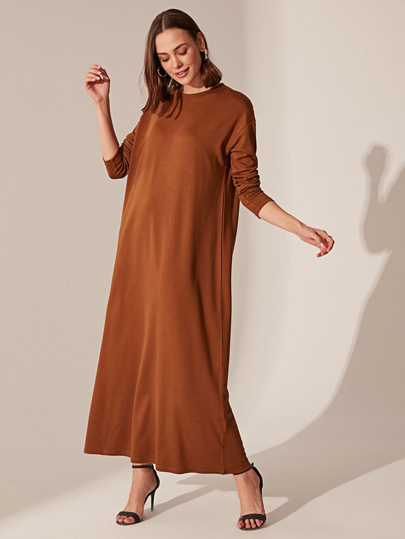 Kahverengi Uzun Salaş Elbise 0SF680Z8 LC Waikiki