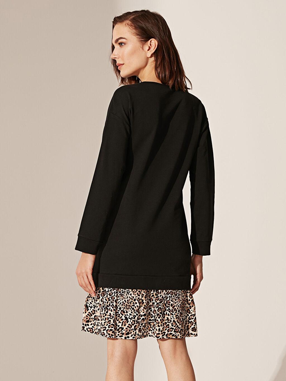 %100 Pamuk Elbise Leopar Detaylı Pamuklu Hamile Elbise