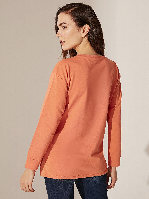%100 Pamuk Düğme Detaylı Pamuklu Hamile Sweatshirt