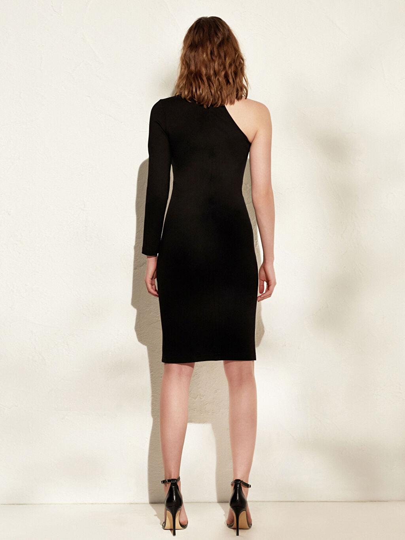 Kadın İncelten Etkili Tek Omuz Detaylı Esnek Elbise